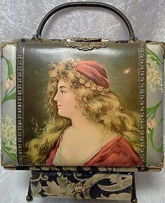 Victorian-Photo-Album-with-Celluloid-Cover-of-Art-Nouveau-Portrait-of-Woman