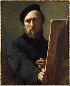 Hyppolite Flandrin (1809-64) : Autoportrait au chevalet (c. 1860 - Lyon)