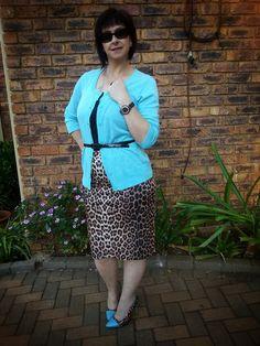 Leopard print skirt (Mr. Price) Leopard print and blue heels (Rage) Cardigan (Truworths)