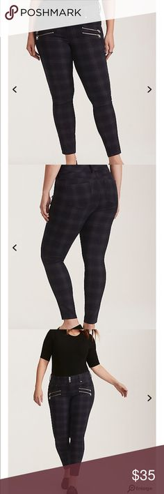 NWT torrid size 18 plaid jeggings . NWT torrid size 18 plaid jeggings . Our comfy-all-day-long Jegging fit gets a punkish makeover with a multi-color plaid print. Super-skinny through the ankle (but stretchy and comfy), with silver tone zippers that add a rock 'n roll touch. The three-button higher rise waist smooths your tummy. torrid Jeans Skinny