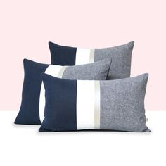 Navy Chambray Pillows with Metallic Gold or Silver Stripe by #JillianReneDecor