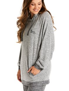 Fuzzy Grey Hooded Sweater | Peter Alexander