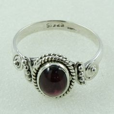 GARNET STONE SIMPLE DESIGN 925 STERLING SILVER RING #SilvexImagesIndia #Signet
