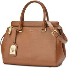 """Ralph Lauren Whitby Convertible Satchel 13""""H x 19"""" L x 7"""" D, gold-toned zip closure with an 'LRL' engraved zipper pull, zipper-pull lock closure, detachable Learjet luggage tag features a gold-toned metal 'LRL'  cutout plaque, 2 interior slip pockets at the front wall, interior zip pocket, detachable adjustable leather shoulder strap, 2 leather top handles with 8"""" handle drop, Ralph Lauren Bags Satchels"""