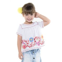 Bata Branca Infantil com Flores - Mon Sucré - Cia Infantil - ciainfantil.com.br