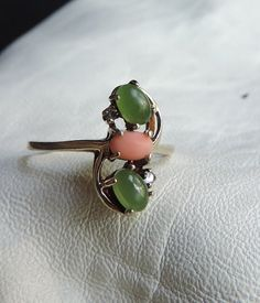 fine 10k gold jade coral diamond ring by allfabulous on Etsy