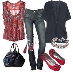 Red and Navy Summer Outfit - Polyvore