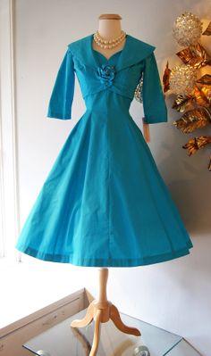 50s Dress // Vintage 1950s Bright Aqua Cotton by xtabayvintage, $198.00