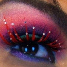 Makeup inspiration.  LOVE the red-lash...