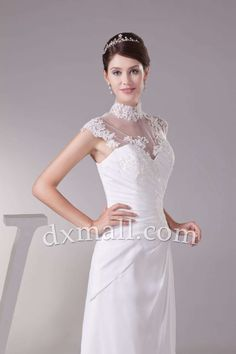 A-line Wedding Dresses High Neck Court Train Chiffon Satin Ivory 010010101523