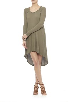 Olive green hooded high-low dress. Perfect to pair with either combat or over the knee boots.   Olive Green Hoodie Dress by Paper Crane. Clothing - Dresses - Long Sleeve Clothing - Dresses - Casual New Jersey