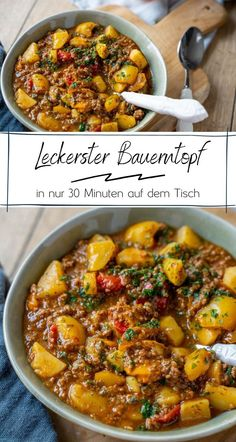 *Warme Küche* Farmer's pot with minced meat, potatoes and peppers, without Maggi or Knorr - easy and Food Blogs, Pumpkin Recipes, Chicken Recipes, Curry, Clean Eating, Food Porn, Food And Drink, Dinner Recipes, Lunch