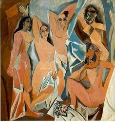 """Pablo Picasso, """"Les demoiselles d'Avignon"""", 1906. Museum of Modern Art (MoMA) New York. 1ère toile cubiste : formes géométriques, pas de détails. S'oppose à la peinture classique. #cubisme #toile #picasso"""
