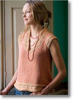 Stunning and subtle top for summer from designer Norah Gaughan for Interweave (would like to make more fitted, hourglass version...love the colors though)