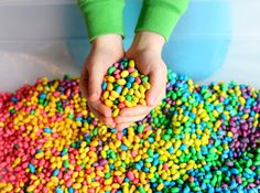 funathomewithkids: Measure a cup of beans into a container. We used a tupperware (Gladware) container, but a bag would probably also work. Add one cup of bea...