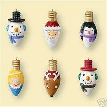 MERRY and BRIGHT 6 miniature Light Bulbs 2006 Hallmark Ornaments