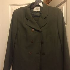 "Olive green skirt suit Olive green Dillard's brand skirt suit. Tag says petite but I'm 5'6"" and skirt went to my knees. Jackets & Coats Blazers"