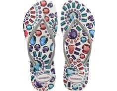 Jeweled flip flops! The Slim Pedras includes a colorful array of elegant jewels.  A slim metallic strap and our signature textured footbed finishes your sophisticated look while providing comfort