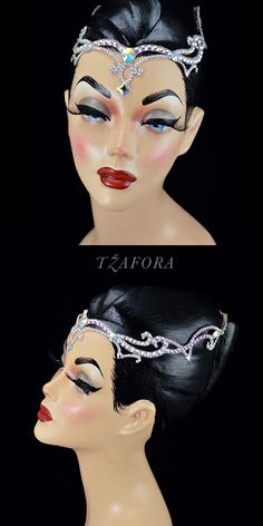 """Rusalka"" - Dancesport accessories. Ballroom hair accessory and ballroom jewelry made with Swarovski, available at www.tzafora.com © 2016 Tzafora. Handmade in Canada."