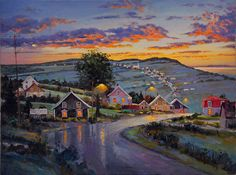 Juan Cristobal | Dernières productions Charlevoix, Summer Painting, Z Arts, Pastel Shades, House Art, Naive Art, Acrylic Paintings, Sunsets, Watercolor Art