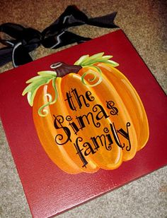 Family Pumpkin Fall Thanksgiving Halloween Canvas Sign