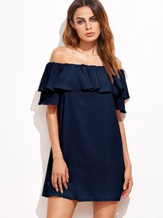 Shop Navy Off The Shoulder Ruffle Dress online. SheIn offers Navy Off The Shoulder Ruffle Dress & more to fit your fashionable needs.