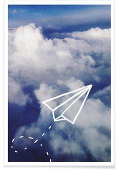 Paper Plane en Affiche premium par Leah Flores | JUNIQE