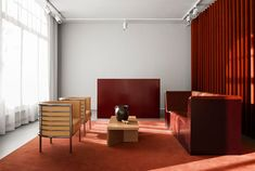 In Stockholm the clothing brand Tiger of Sweden has entrusted the refurbishment of its showroom and headquarters to Joyn studio Red Interior Design, Boutique Interior Design, Cafe Interior, Corner Furniture, Design Furniture, Furniture Ideas, Swedish Interiors, Colorful Interiors, Store Interiors