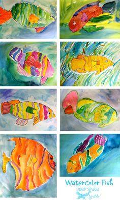 Watercolor Resist Tropical Fish | Deep Space Sparkle