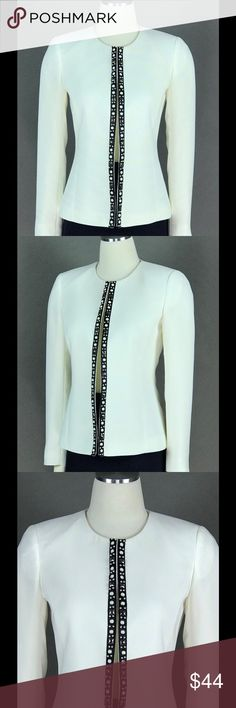 TAHARI ASL White Ivory Jacket Beaded Trim NEW TAHARI ASL White Ivory Jacket Only Petite Size 2P Beaded Trim Flyaway Open Front Women's NEW TAHARI ASL Jackets & Coats Blazers