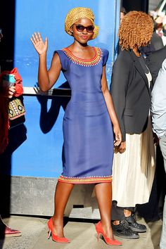Lupita Nyong'o Supports a Rising West African Designer in Her Stunning Blue Dress
