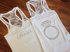 SALE Bride Tank Top with Ring on Back, Custom Bride Lace Tank Top, Rhinestone Tank, Bachelorette Party, Bridesmaid Tanks, Bridal Gifts on Etsy, $16.00