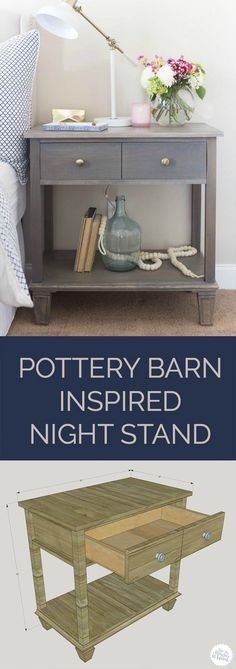 Pottery Barn-Inspired Sausalito Bedside Table Love this! How to build a DIY Pottery Barn-inspired Nightstand - free plans by Jen WoodhouseLove this! How to build a DIY Pottery Barn-inspired Nightstand - free plans by Jen Woodhouse Building Furniture, Pallet Furniture, Furniture Projects, Furniture Plans, Furniture Makeover, Home Furniture, Furniture Design, Bedroom Furniture, Apartment Furniture