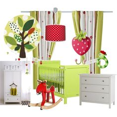 green and red nursery concept