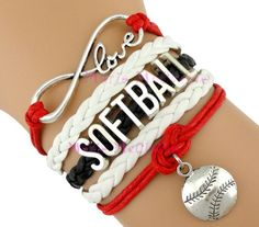 Softball Bracelet - Red/Back Softball Braids, Softball Bows, Softball Gifts, Softball Quotes, Softball Catcher, Softball Pictures, Softball Players, Girls Softball, Softball Stuff
