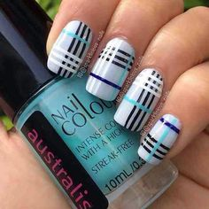 Burberry Nails - The Best Nail Art of the Week Plaid Nail Designs, Plaid Nail Art, Plaid Nails, Cute Nail Designs, Cute Acrylic Nails, Fun Nails, Pretty Nails, Burberry Nails, Classic Nails