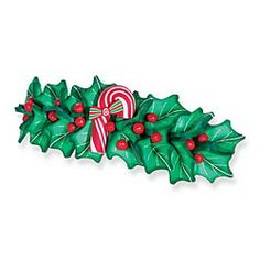 Holly And Candy Cane Barrette