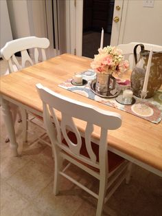 Shabby chic Kitchen Table & Chairs with Cath Kidston seat pads ...