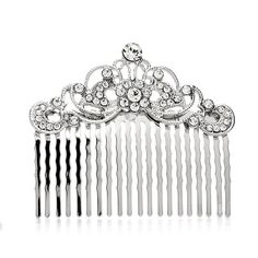 These scrolled crystal hair comb will add vintage glamour to any style! As the perfect accessory for a black tie wedding or the finishing touch in your prom updo, this comb will feel like a real heirl