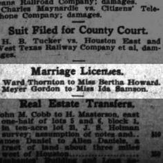 Meyer (MM) Gordon marriage to Ida Samson Houston Post 25 Nov 1905 pg 12