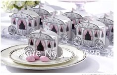 Free shipping 200pcs Pink Enchanted Carriage Favor Boxes wedding candy boxes sweet box wedding party supply Gift Favors $35.60