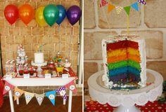 Somewhere Over The Rainbow Guest Dessert Feature Rainbow Parties, Rainbow Theme, Rainbow Birthday, Rainbow Bunting, Rainbow Loom, Birthday For Him, Little Girl Birthday, Birthday Parties, Birthday Ideas