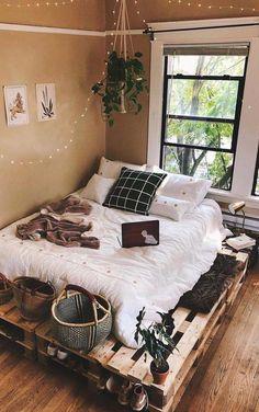 Small Bedroom Designs, Room Design Bedroom, Bedroom Decor, Bedroom Ideas, Design Room, Master Bedroom, Bedroom Bed, Fall Bedroom, Small Room Bedroom