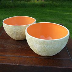 These deceptively delicious bowls were molded from real cantaloupes. #Etsy