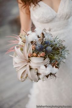 thistle, cotton and airplant bouquet, air plant wedding, san diego florist, kate harrison photography