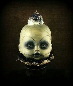 """x Piercing lil creepy confection this one is. Deep Dark Blue tones and German Glass Glitter. """"Icing"""" was really piped on. Steampunk Halloween, Halloween Doll, Halloween Items, Creepy Halloween, Halloween Birthday, Vintage Halloween, Happy Halloween, Halloween 2019, Halloween Treats"""
