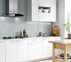 A modern white kitchen with grey wall panels