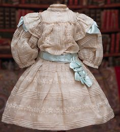 """Antique French Cream Silk Dress and Slip for doll about 26"""" (65 cm) Antique dolls at Respectfulbear.com"""