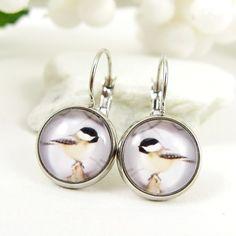 Winter Chickadee Earrings  Silver Bird Jewelry by ADelicateWorld, $25.95