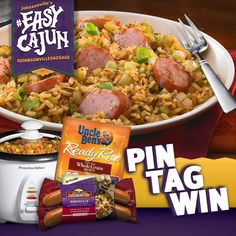 """PIN your favorite jambalaya, gumbo or other sausage-and-rice recipes, TAG with """" #EasyCajun with #JohnsonvilleSausage"""" and then ENTER at http://johnsonville.com/easycajun for a chance to #win a rice cooker, Johnsonville Andouille Sausage and Uncle Ben's rice! #contest"""